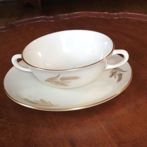 Lenox Harvest R441 creamed soup bowl& under plate